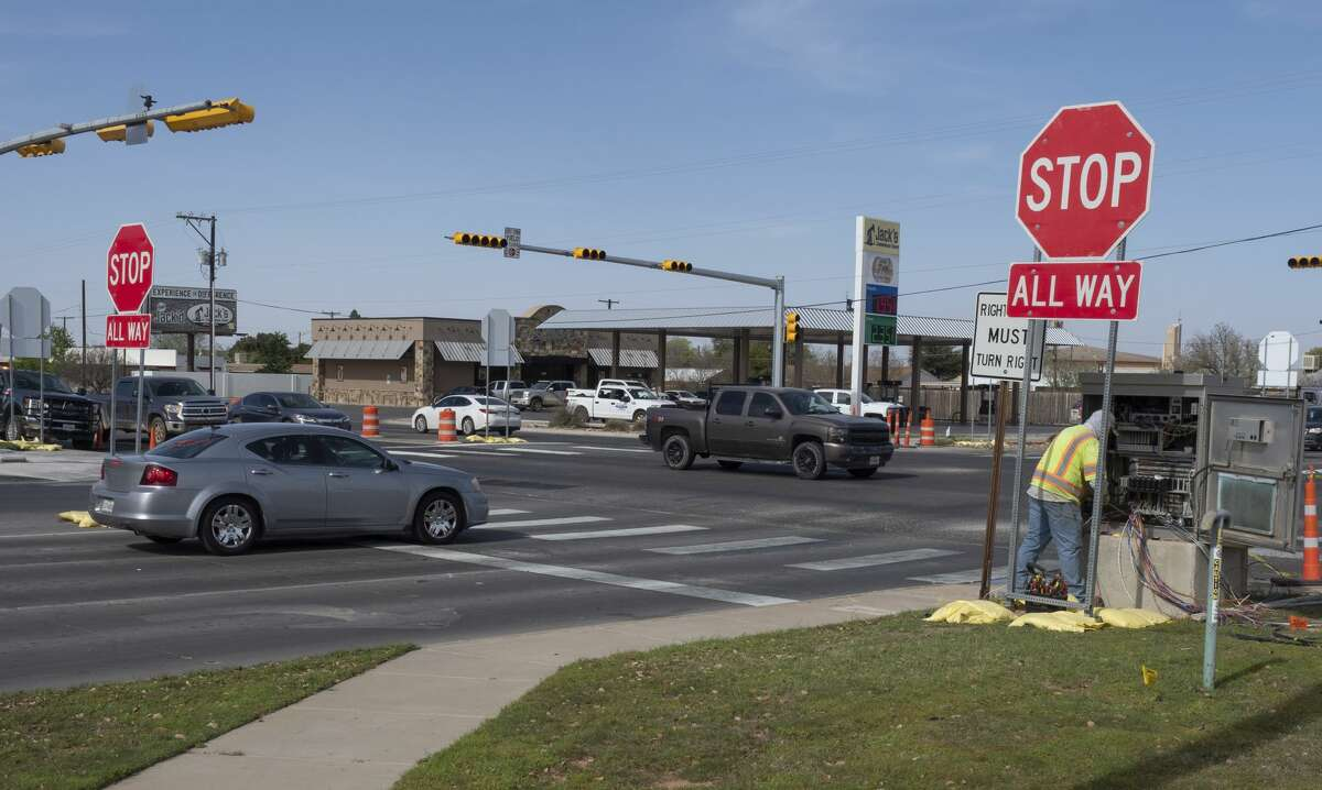 Work continues 03/30/2020 as new lights are put in place at the Wadley and Big Spring intersection. Tim Fischer/Reporter-Telegram
