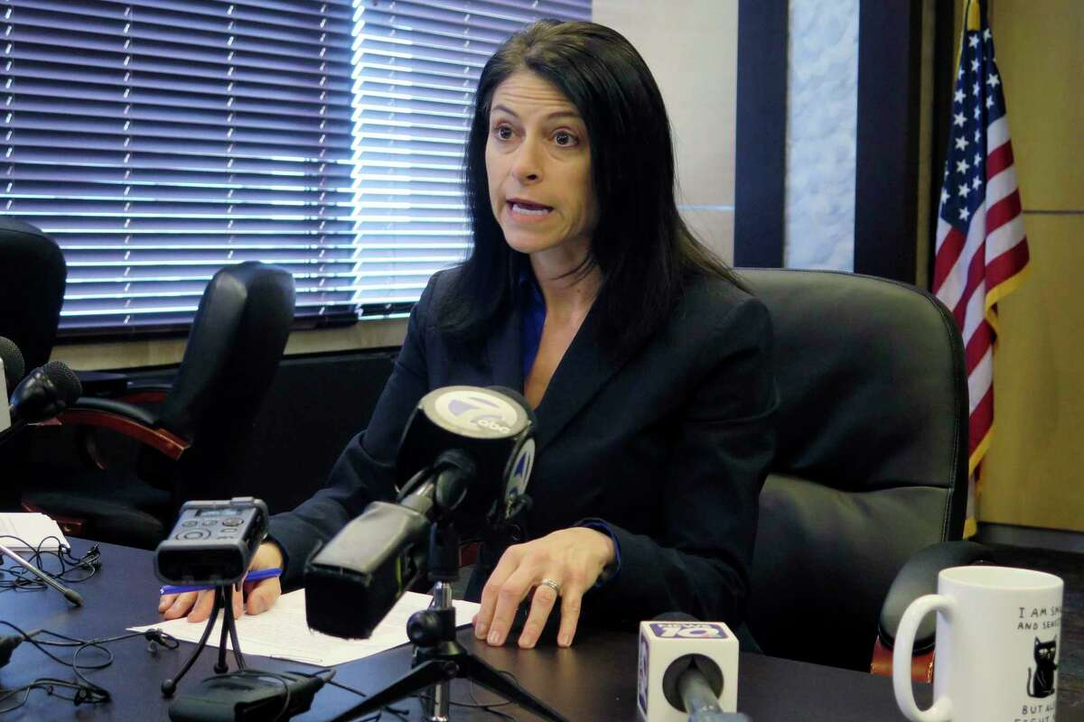 In this file photo, Michigan Attorney General Dana Nessel addresses the media during a news conference, Thursday, March 5, 2020, in Lansing. Nessel recently went online to answer a number of questions about the state's response to COVID-19. (AP Photo/David Eggert)