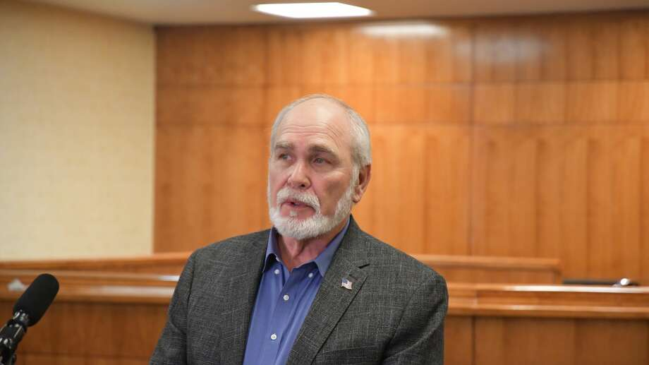 Midland County Judge Terry Johnson speaks at the jointcoronavirusbriefing withMidlandMemorial Hospital officials, Tuesday, March 31, 2020. Photo: Mercedes Cordero/Midland Reporter-Telegram