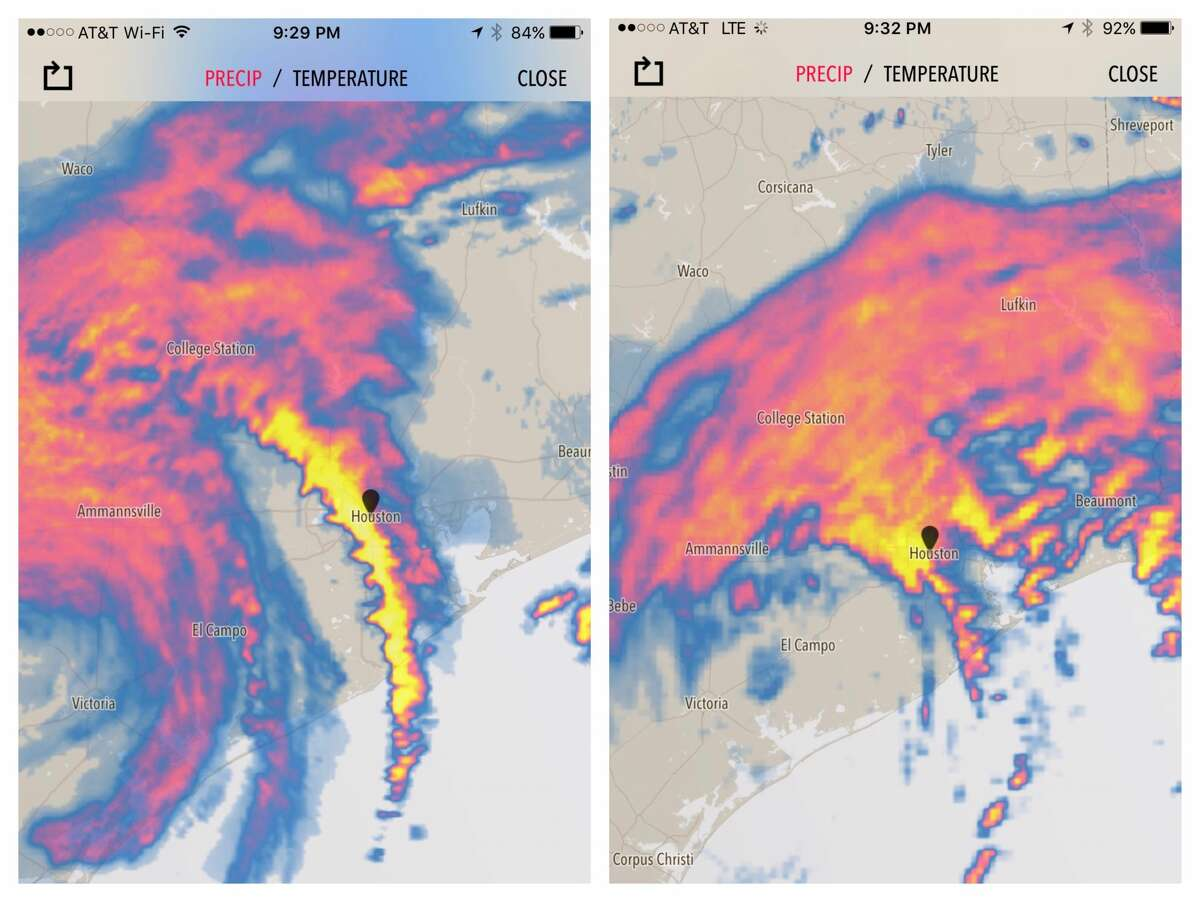Hurricane Harvey as it appeared on the Dark Sky app on Aug. 26 and 27, 2017. Apple has acquired Dark Sky and killed the Android version.