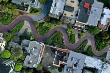 SAN FRANCISCO, CALIFORNIA - MARCH 30: An aerial drone view of an empty Lombard Street tourist destination during the coronavirus pandemic on March 30, 2020 in San Francisco, California. Officials in seven San Francisco Bay Area counties have announced plans to extend the shelter in place order until May 1. (Photo by Justin Sullivan/Getty Images) ***BESTPIX***