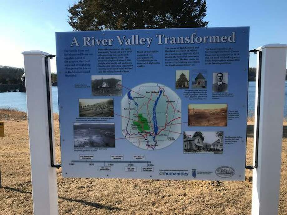 A new sign at the Barkhamsted Reservoir details the history of the area. Photo: Barkhamsted Historical Society / Contributed Photo /