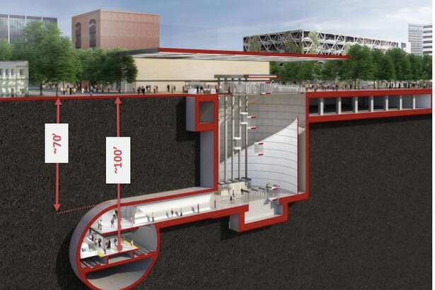 A mockup of a proposed BART station in downtown San Jose.