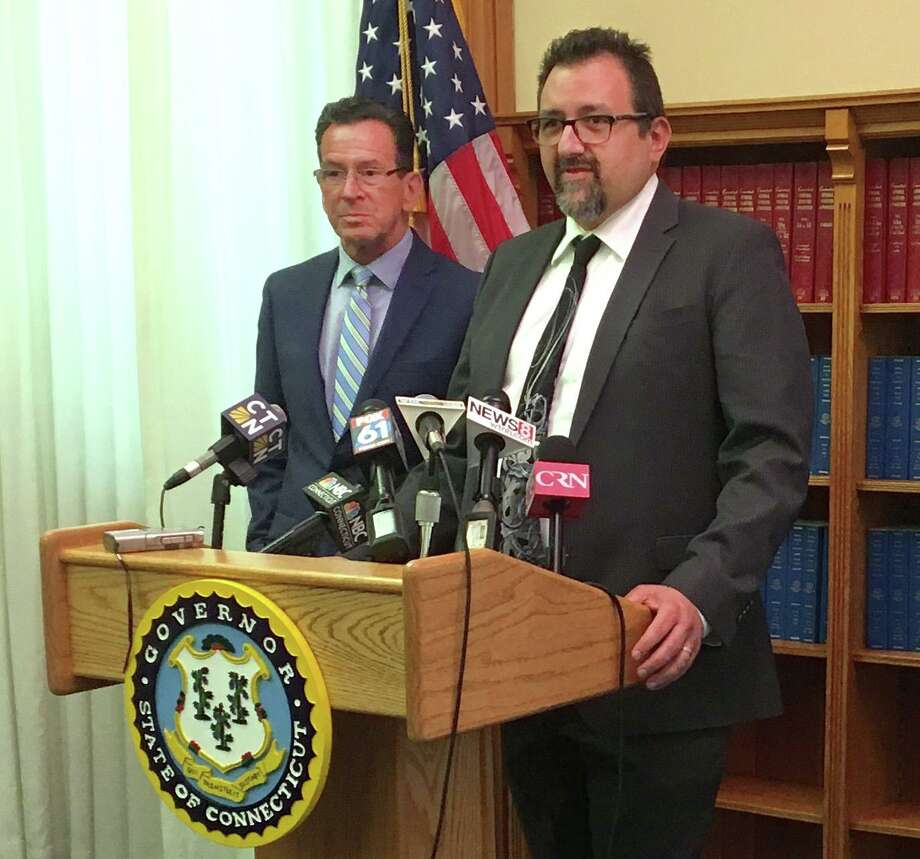 Connecticut Department of Developmental Services Commissioner Jordan A. Scheff, right, with then-Gov. Dannel Malloy in 2017. Photo: Contributed Photo / Connecticut Post Contributed