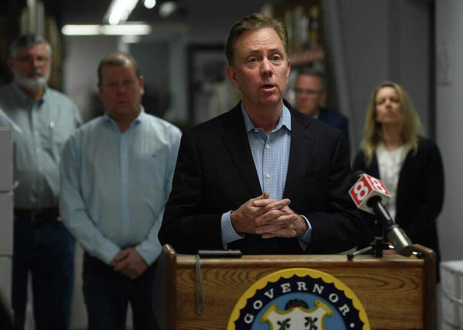 Governor Ned Lamont addresses the media at medical equipment manufacturer Bio-Med Devices in Guilford, Conn. on Sunday, March 29, 2020. The company has signed a contract to produce ventilators for the state at an initial quantity of ten per week for ten weeks. Photo: Brian A. Pounds / Hearst Connecticut Media / Connecticut Post