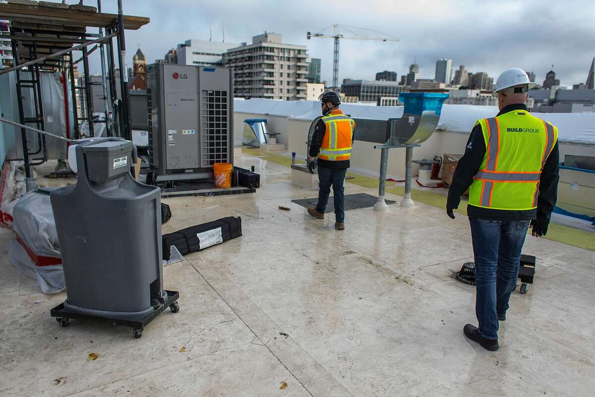 Hand cleaning stations at a construction site on March 31, 2020 in San Francisco.