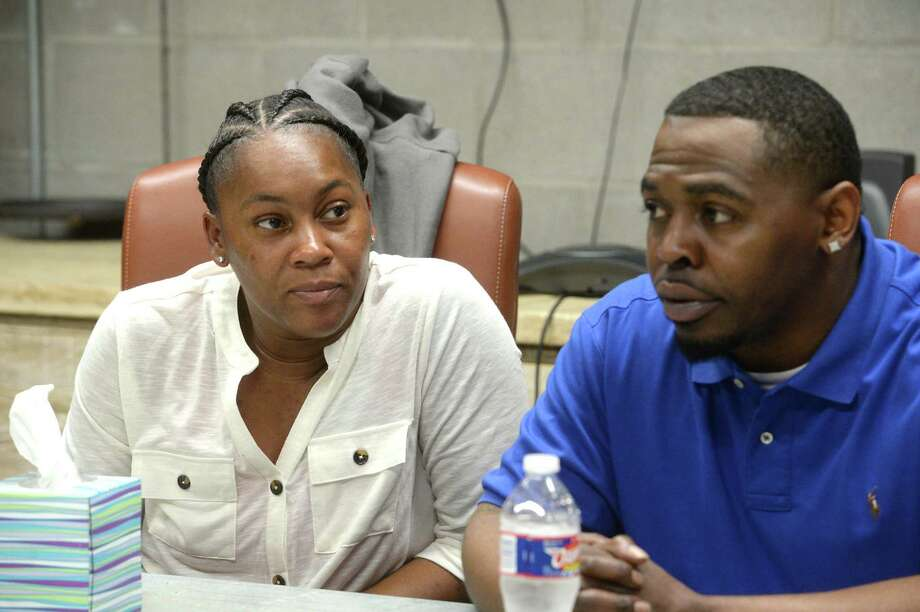Melanie Richards listens as Jimmy McBride talks about their frustrations with the case involving the shooting death of their son Nick McBride in Jasper last summer. Photo taken Monday, March 2, 2020 Kim Brent/The Enterprise Photo: Kim Brent / The Enterprise / BEN