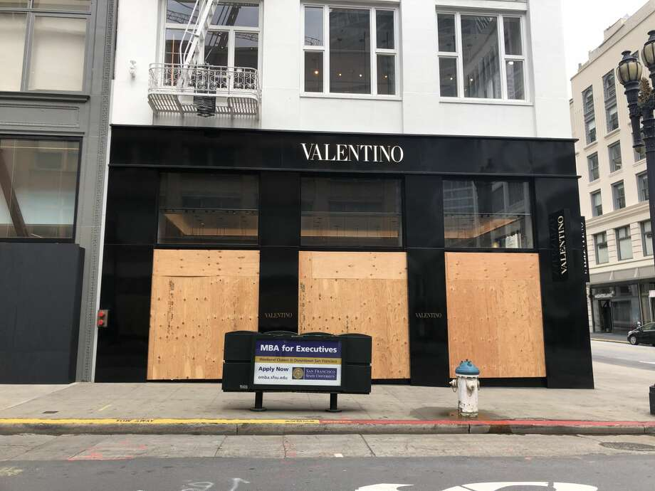 The Valentino store, boarded up during the coronavirus shutdown in San Francisco. Photo: Andrew Chamings