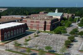 An aerial image of College Park High School is seen, Friday, March 27, 2020, in The Woodlands.