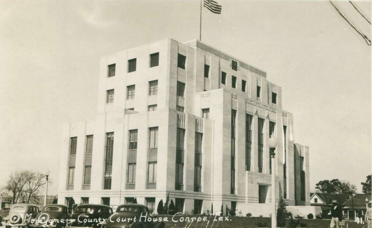 The Montgomery County Courthouse in Conroe circa 1941. The county courthouse is listed on the Texas State Historic Atlas as a historic location.
