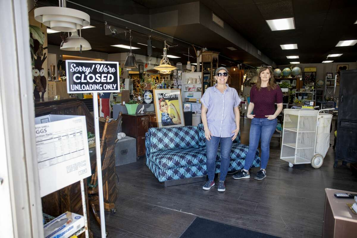 Found Furnishings owners Jeannie Eads, left, and Kristen Covington pose in the store Wednesday, March 25, 2020 at 428 Andrews Highway. (Owner Sari Smith is not pictured.)