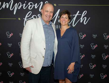 EMBARGOED FOR SOCIETY REPORTER UNTIL JUNE 1  Houston Texans head coach Bill O'Brien and wife Colleen O'Brien pose for a photograph at the inaugural Champions for Youth Dinner at Steak 48 on Thursday, May 30, 2019, in Houston.