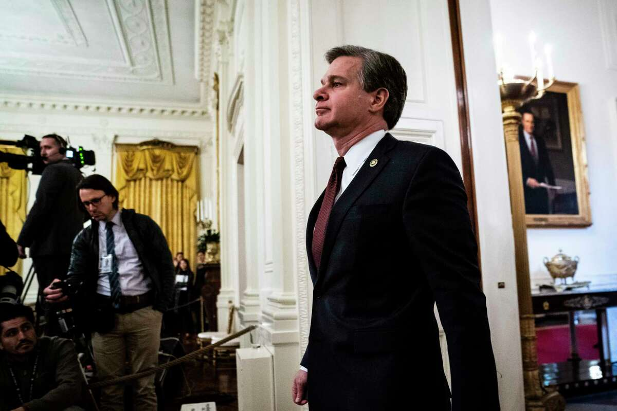 FBI Director Christopher Wray arrives at the White House in January ahead of remarks by President Donald Trump.