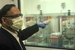 Anil R. Diwan, president and chairman of NanoViricides Inc. in Shelton, Conn., eplains how his company is working on developing a potential treatment for COVID-19 on Tuesday.