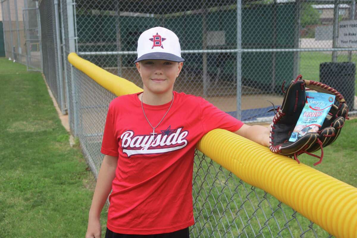 The only thing Bayside Little Leaguer Jackson Karstedt is catching these days are antibacterial hand sanitizers. A member of last summer's Texas East state champs for the 11-year-olds, Jackson reminds everyone to keep washing their hands.