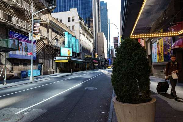 The empty streets of Broadway: no tourists, no shows.