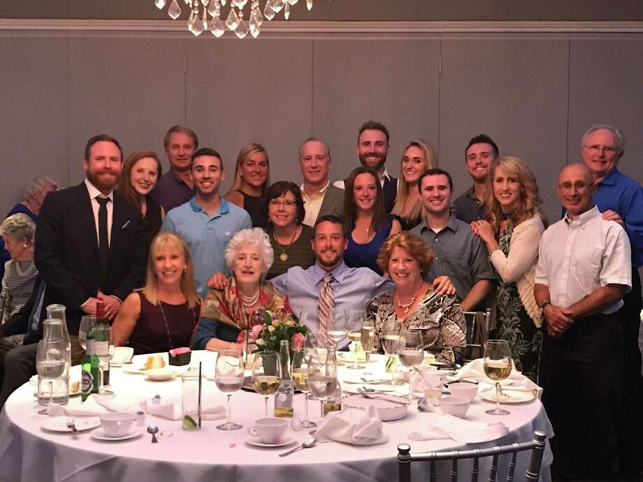 The Dunn family at a gathering for 90th birthday of Agnes Dunn, Elizabeth Gabriele's mother, second from the left in the front row. Dunn lives at Ridgefield Crossings assisted-living facility. Photo: Contributed Photo
