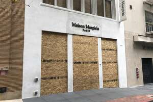 Boarded up stores in San Francsico during the coronavirus shutdown.