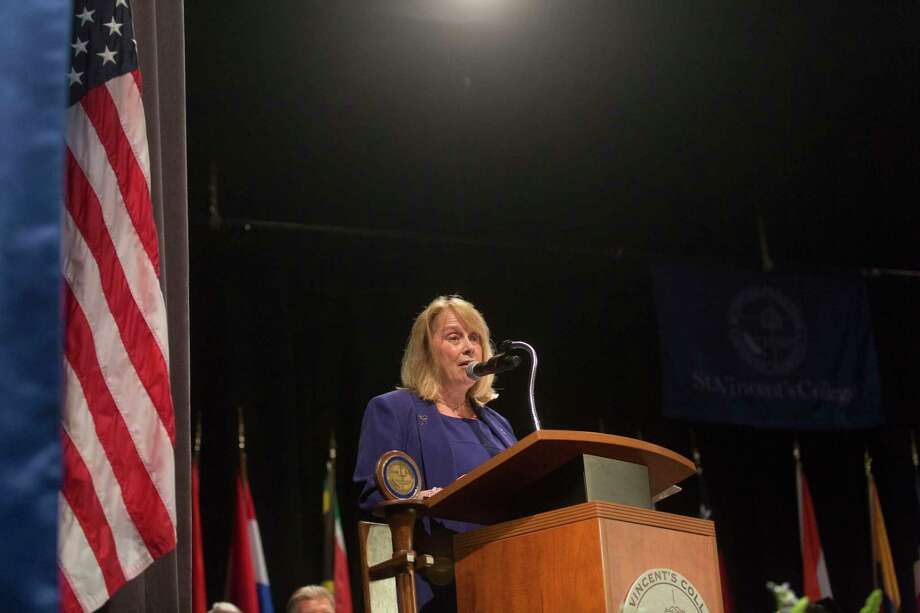 Commencement speaker Debra A. Greenwood, of the Center for Family Justice, at the St. Vincent College's Commencement Ceremony in 2017. Photo: File Photo / Connecticut Post Freelance