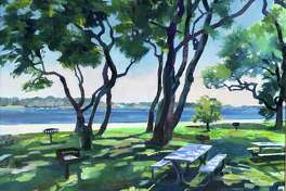 "Spectrum Gallery & Store's new show, Shadow Dance, is available to view online. Above, ""Summer at Esker Point,"" oil, Rosemary Webber."