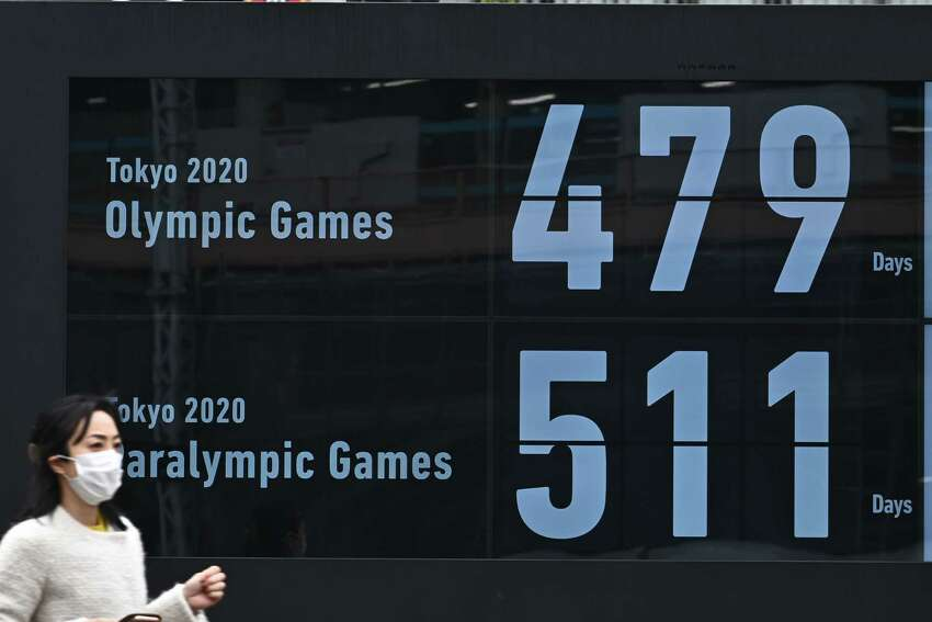 A countdown clock shows the number of days till the Tokyo 2020 Olympic and Paralympic Games on display outside a subway station in Tokyo on March 31, 2020. - The postponed Tokyo 2020 Olympics will open on July 23, 2021, organisers said on March 30, announcing the new date after the Games were delayed because of the coronavirus pandemic. (Photo by Philip FONG / AFP) (Photo by PHILIP FONG/AFP via Getty Images)