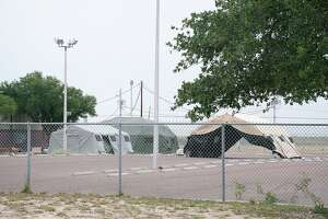 A mobile testing site for the coronavirus is set up by the City of Laredo at the Park and Ride on Hillside Road on March 28. The city later announced that tests it acquired were likely fraudulent, delaying the site's opening until the middle of April.