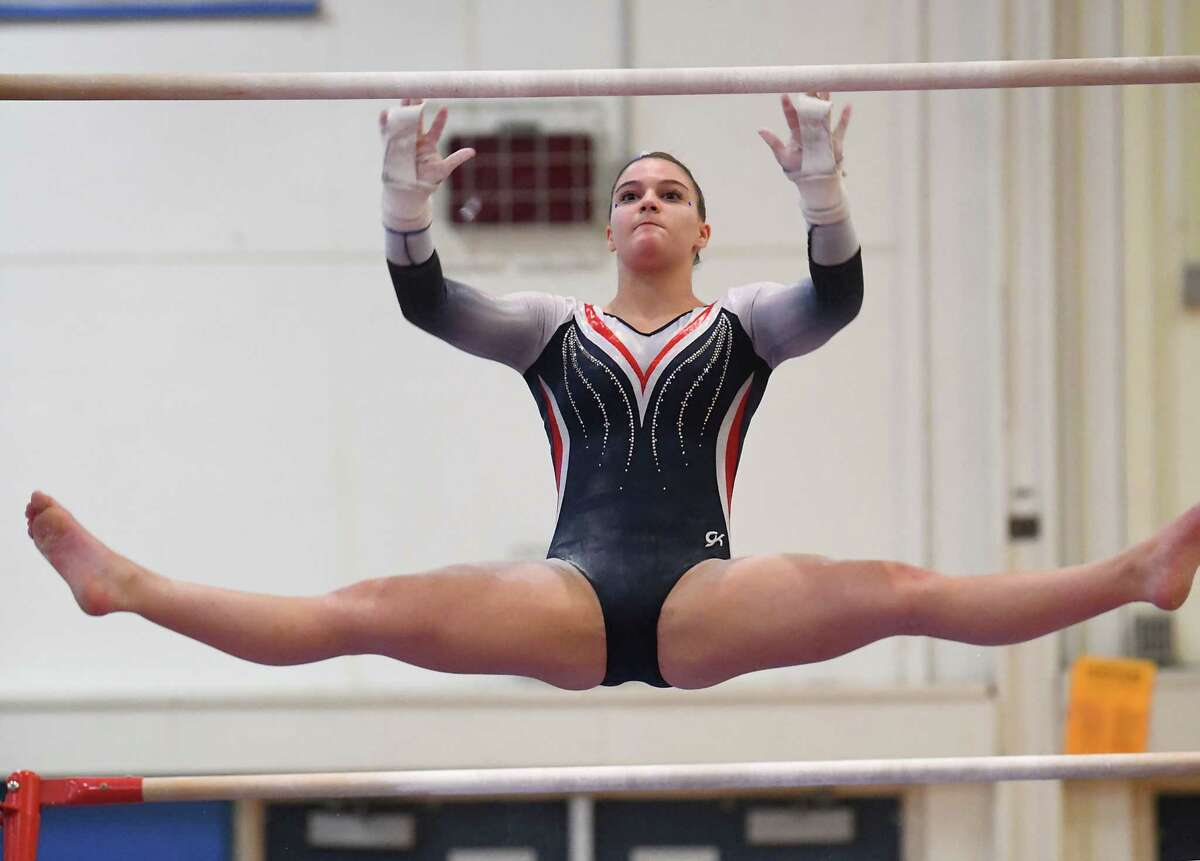 Saratoga's Sophia Damiano competes on the uneven bars during the Section II Gymnastics sectionals at Shaker High School on Wednesday, Feb. 12, 2020 in Latham, N.Y. (Lori Van Buren/Times Union)