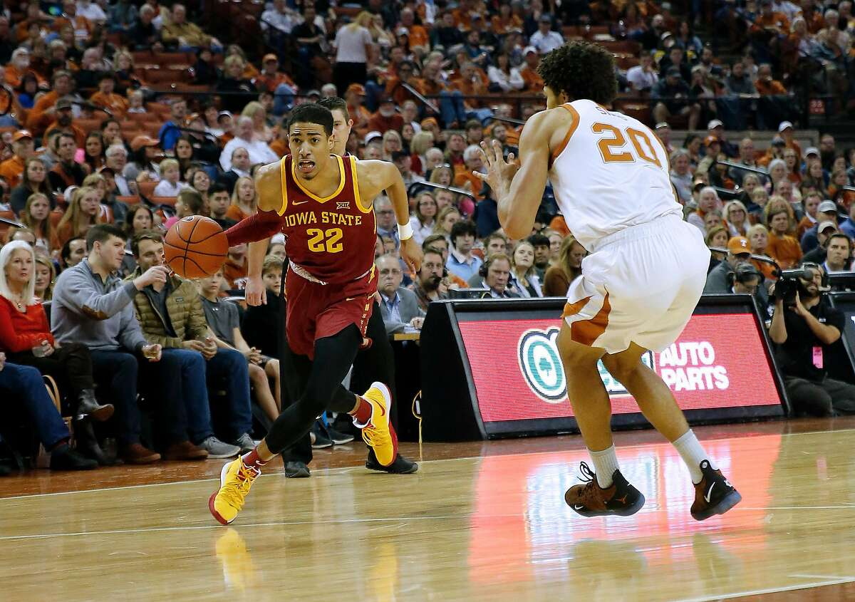 AUSTIN, TEXAS - MARCH 02: Tyrese Haliburton #22 of the Iowa State Cyclones drives around Jericho Sims #20 of the Texas Longhorns at The Frank Erwin Center on March 02, 2019 in Austin, Texas. (Photo by Chris Covatta/Getty Images)