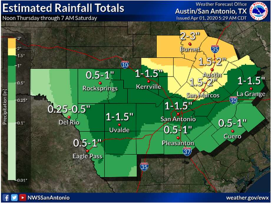 South and Central Texas could see rainfall and storms Friday night into Saturday morning from an approaching cold front, according to the National Weather Service. San Antonio could see 1 to 2 inches of rain, with up to 4 inches possible. Photo: National Weather Service