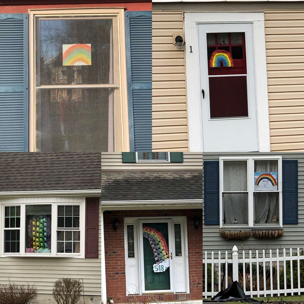 Dan Lundquist shared this collage of rainbows in windows in Albany's Woodscape neighborhood on March 30, 2020.