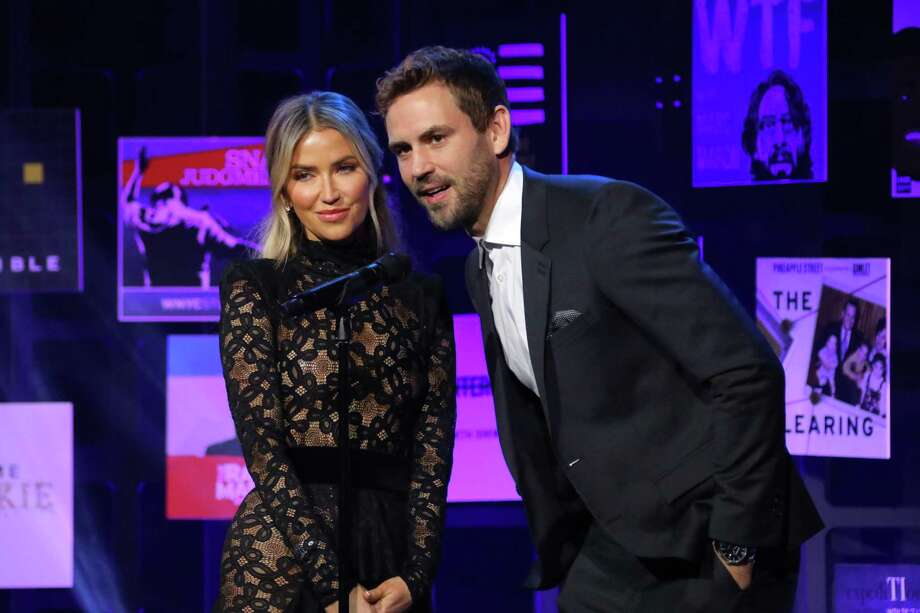 Nick Viall and Kaitlyn Bristowe onstage during the 2020 iHeartRadio Podcast Awards. Photo: JC Olivera / Getty Images / 2020 Getty Images