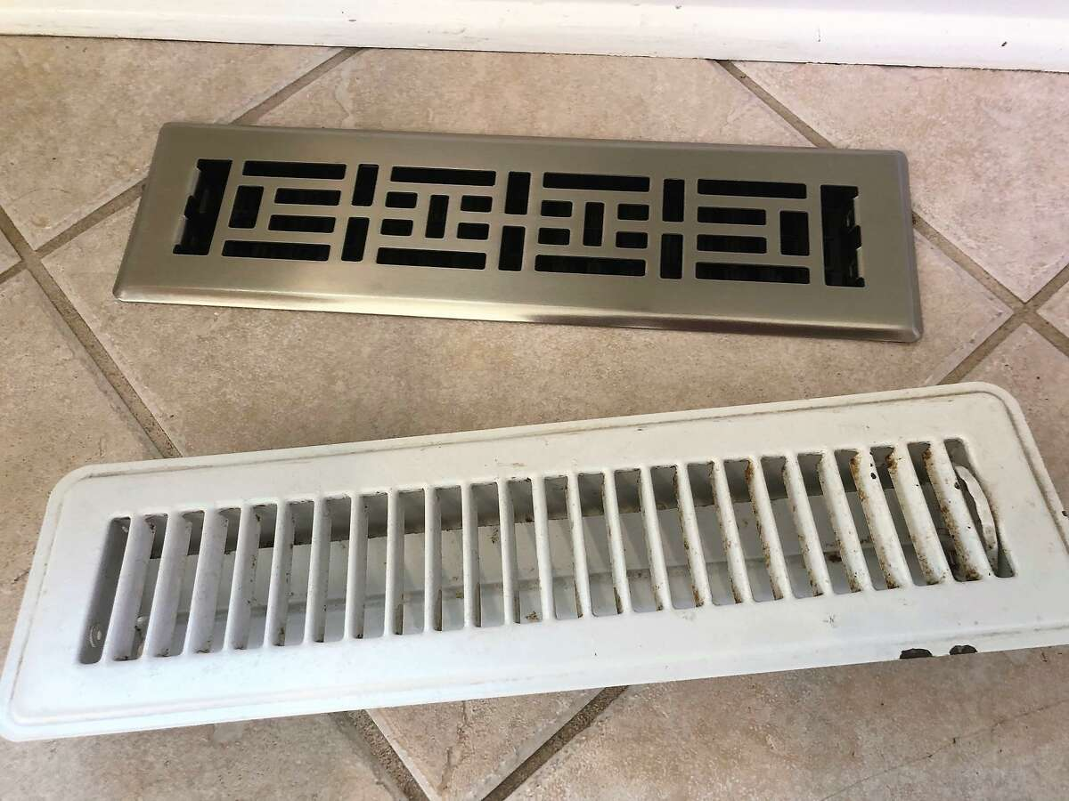 For a quick and satisfying project, you can replace an old floor heating vent, front, with a new one (rear) for about $13 via online purchase.