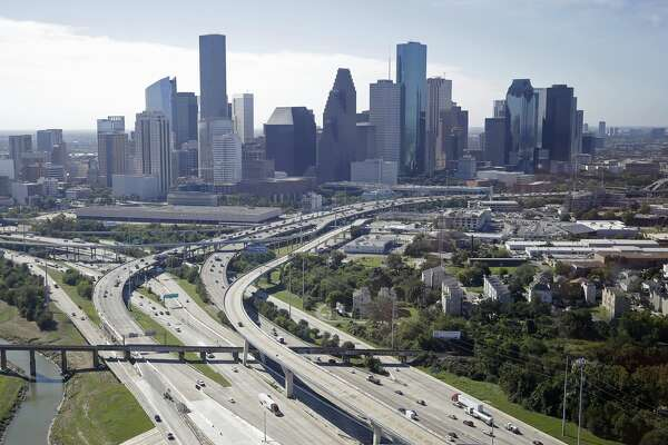 An aerial view of downtown and White Oak Bayou is shown during a Houston Parks Board Bayou Greenways 2020 project tour Monday, Oct. 16, 2017, in Houston.