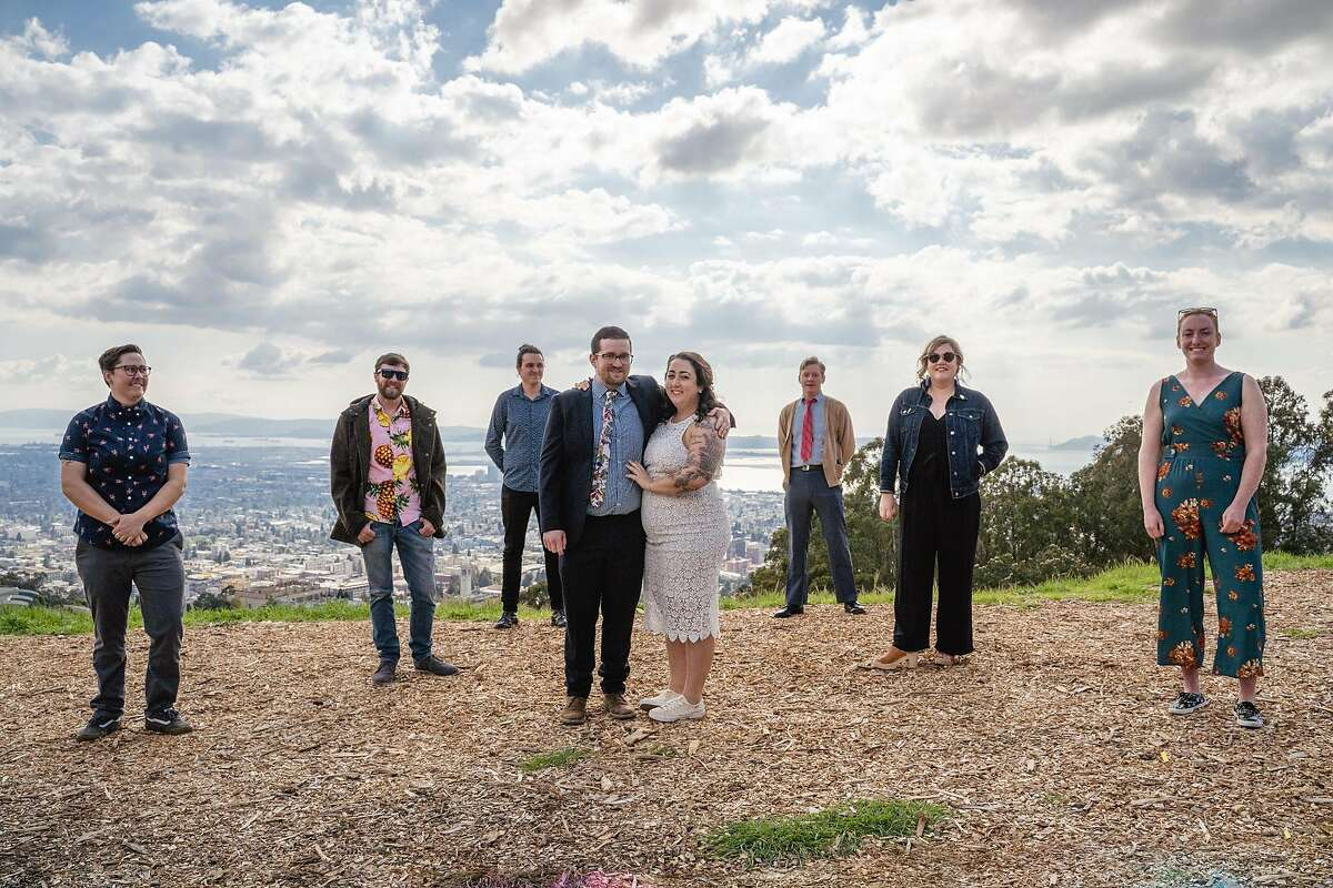 Reese Lichtenstein and Cory Lubarsky exchanged vows in front of a handful of friends at the overlook outside Berkeley's Lawrence Hall of Science.