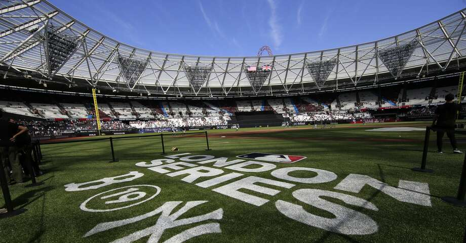 LONDON, ENGLAND - JUNE 29: The MLB London Series logo is seen on field before game one of the London Series between the New York Yankees and the Boston Red Sox at London Stadium on Saturday, June 29, 2019 in London, England. (Photo by Chris Trotman/MLB via Getty Images) Photo: Chris Trotman/MLB Via Getty Images / 2019 Major League Baseball Photos