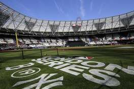 LONDON, ENGLAND - JUNE 29: The MLB London Series logo is seen on field before game one of the London Series between the New York Yankees and the Boston Red Sox at London Stadium on Saturday, June 29, 2019 in London, England. (Photo by Chris Trotman/MLB via Getty Images)
