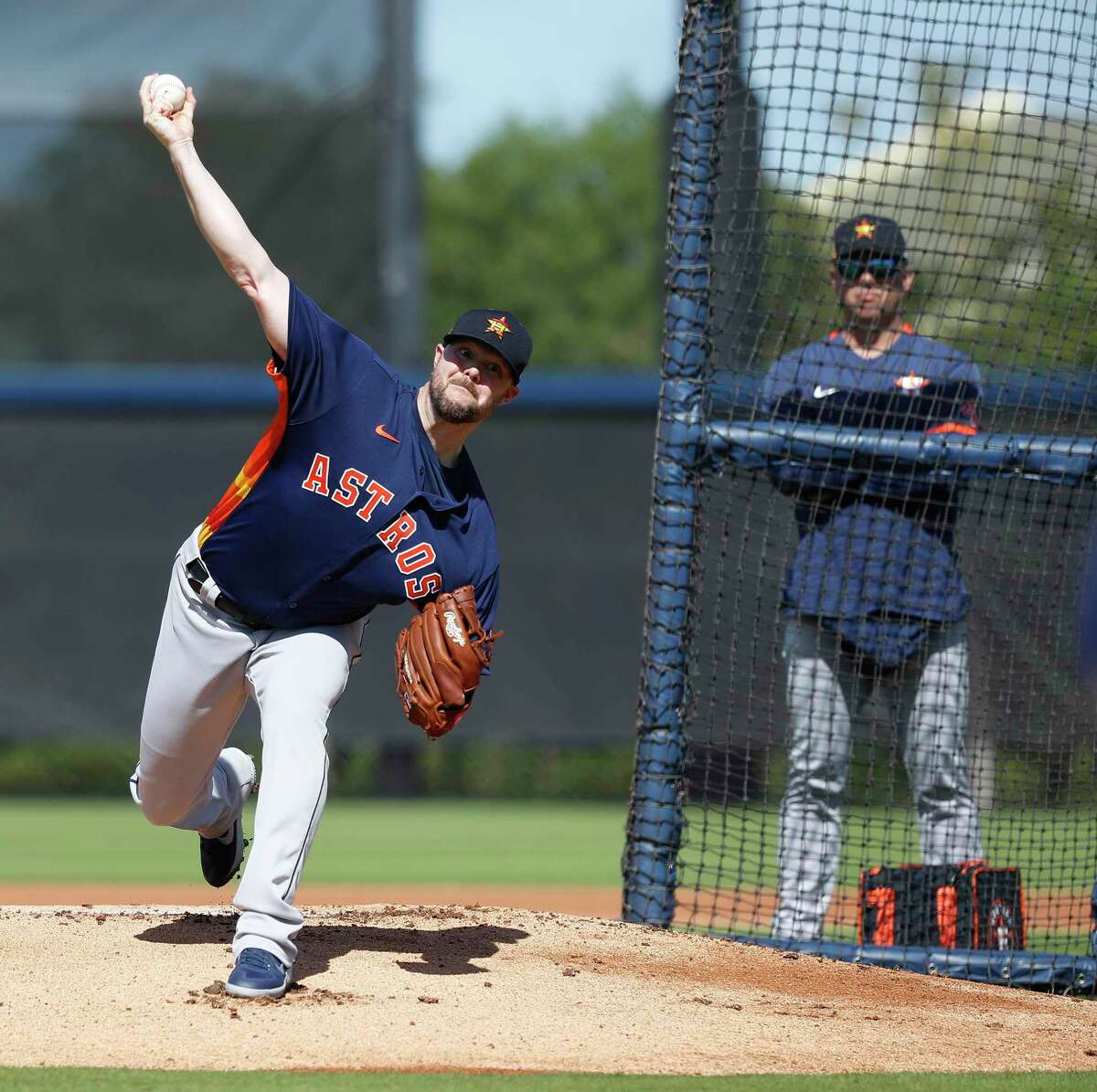 Houston Astros pitcher Ryan Pressly (55) during spring training workouts at the Fitteam Ballpark of The Palm Beaches, in West Palm Beach, Sunday, Feb. 23, 2020.