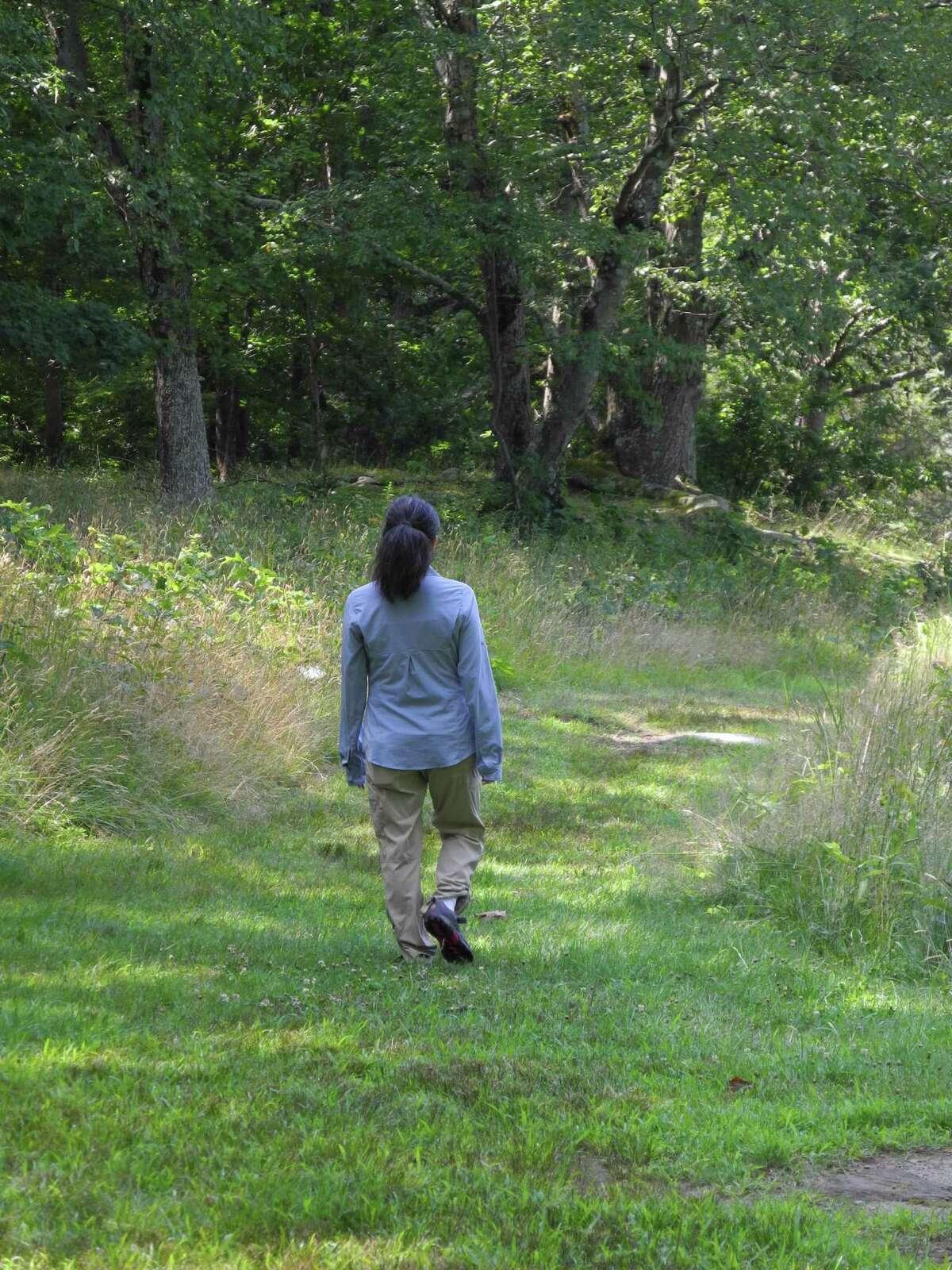 Certified forest bathing guide Jennifer Salkin walks along a meadow trail at Weir Farm National Historic Site in Wilton, Conn., on July 26, 2019.