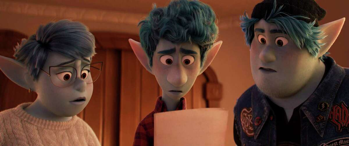In this image released by Disney/Pixar, characters Laurel, voiced by Julia Louis-Dreyfus, from left, Ian, voiced by Tom Holland, and Barley, voiced by Chris Pratt, appear in a scene from