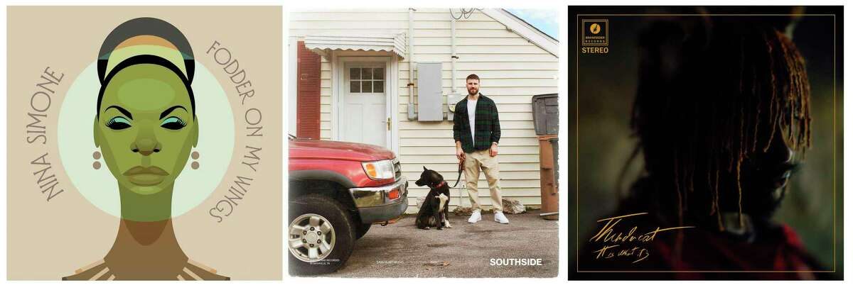 This combination of album covers shows, from left,