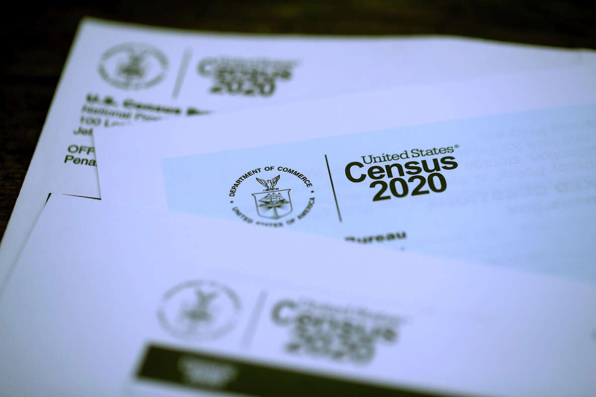 SAN ANSELMO, CALIFORNIA - MARCH 19: The U.S. Census logo appears on census materials received in the mail with an invitation to fill out census information online on March 19, 2020 in San Anselmo, California.