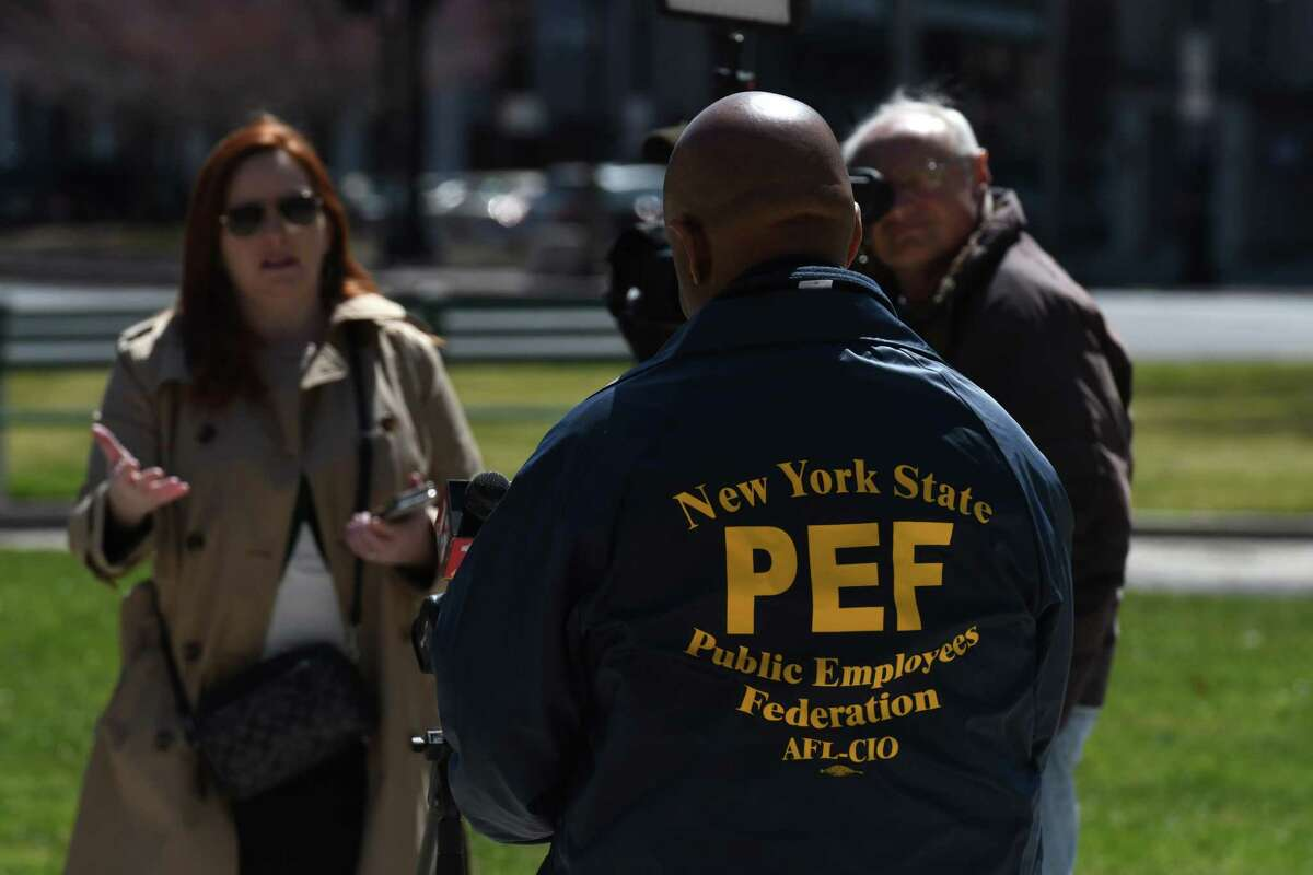PEF President Wayne Spence calls on state officials to pay thousands of workers who did not receive paychecks this week on Wednesday, April 1, 2020, during a press conference outside the Capitol in Albany, N.Y. (Will Waldron/Times Union)