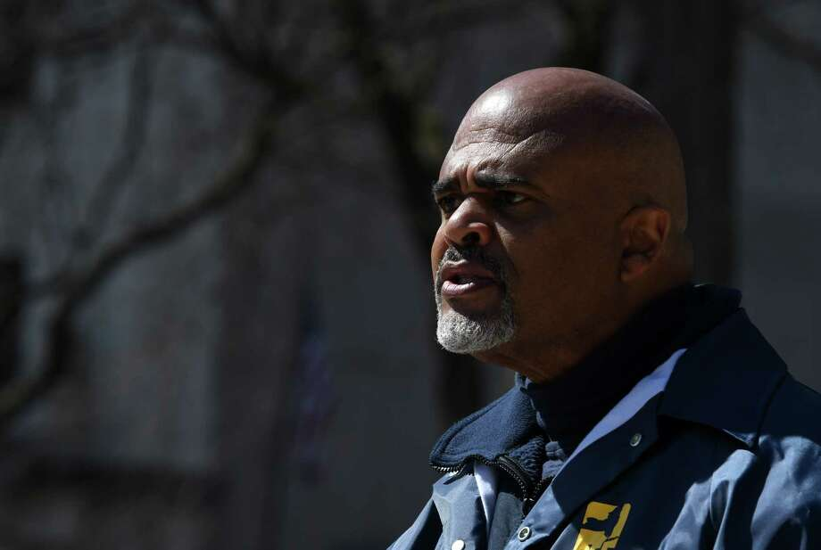 PEF President Wayne Spence calls on state officials to pay thousands of workers who did not receive paychecks this week on Wednesday, April 1, 2020, during a press conference outside the Capitol in Albany, N.Y. (Will Waldron/Times Union) Photo: Will Waldron, Albany Times Union / 40049124A
