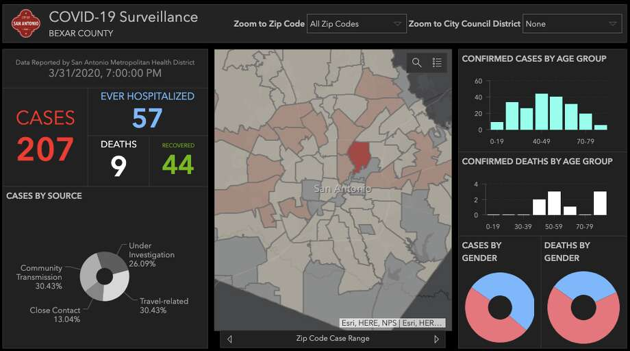 The city of San Antonio launched an interactive map to track the number of COVID-19 cases in the area. Photo: City Of San Antonio
