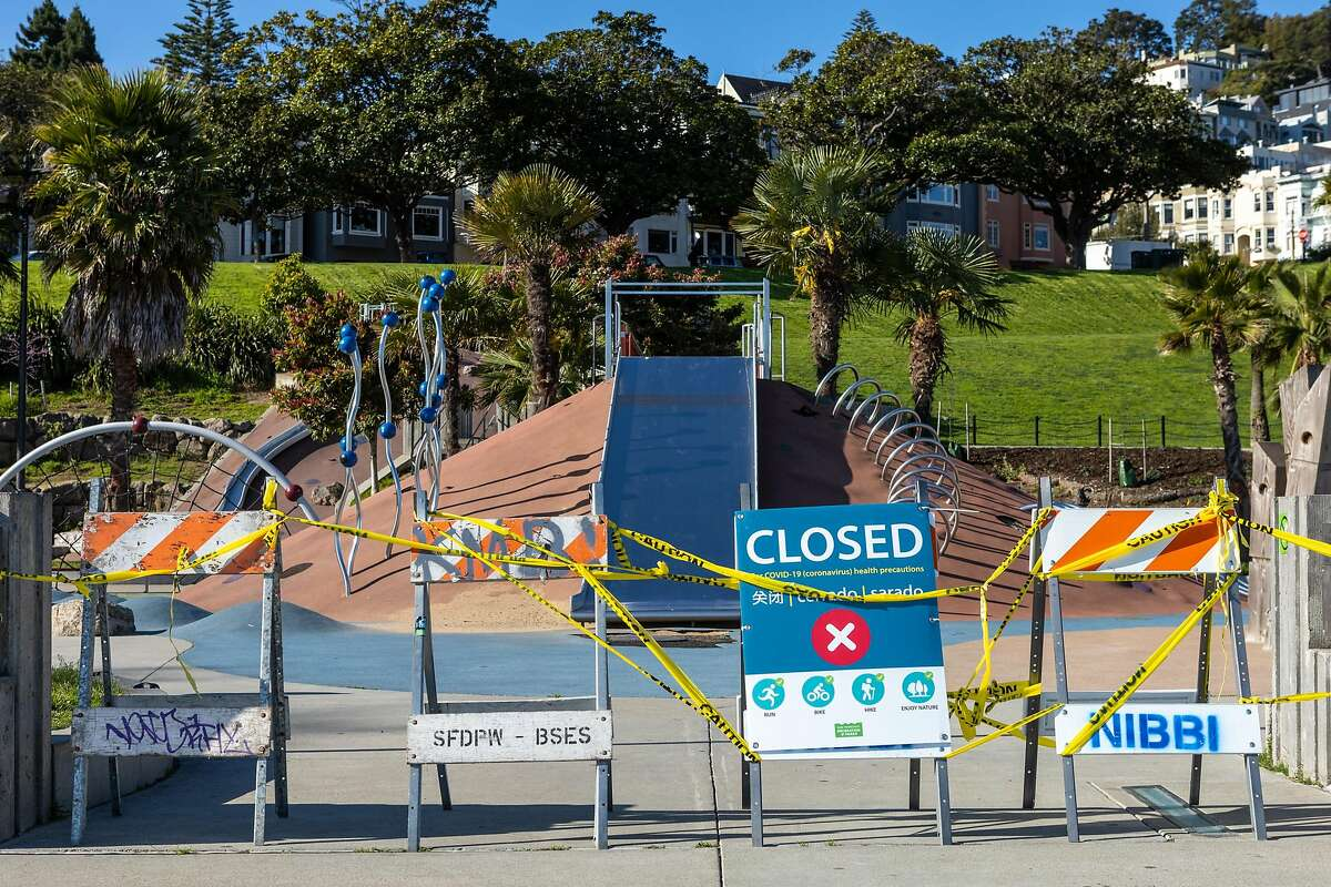 The Helen Diller playground at Dolores Park in Mission district is closed to prevent the spread of the coronavirus on Wednesday, April 1, 2020, in San Francisco, Calif.�