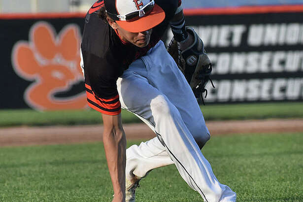 Edwardsville infielder Weston Slemmer fields a ground ball during a game last summer.