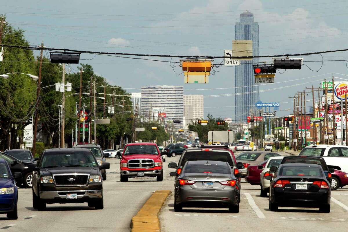 Traffic is shown traveling on Westheimer Road near South Gessner on Aug. 20, 2013. The stretch is among the busiest road segments in the region, with only freeways averaging more vehicles per day.