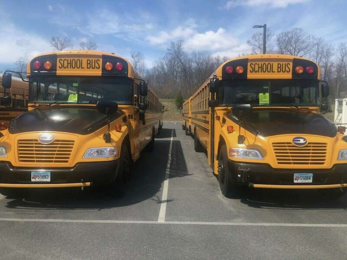 School buses at the Monroe bus depot