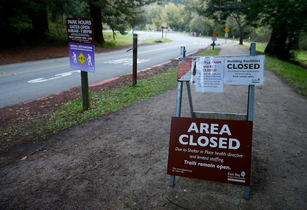 Access to the parking lot for the Tilden Nature Area is off limits at Tilden Regional Park in Berkeley, Calif. on Wednesday, April 1, 2020. Restrictions to areas such as playgrounds, dog parks and basketball and tennis courts have been expanded with the extension of shelter in place orders until at least May 3 to slow the spread of the coronavirus pandemic.
