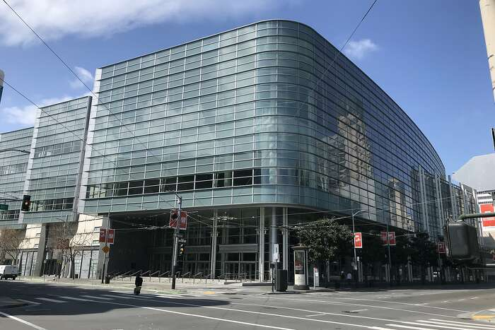 Moscone West is seen on Friday, March 27, 2020 in San Francisco, Calif.
